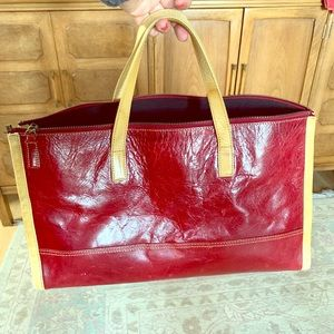 Red leather Kenneth Cole purse/work bag